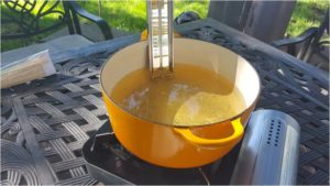 Use a thermometer to gauge temperature. Heat oil to 360 F Photo by Modern Carnivore