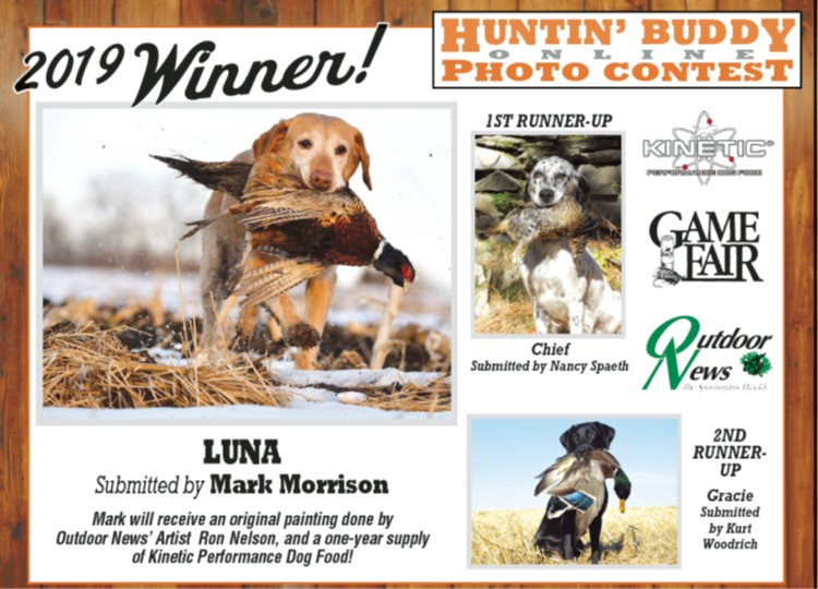 Kinetic Performance Dog Food is the sponsor of the 2019 Huntin Buddy Photo Contest won by Mark Morrison of his dog Luna.