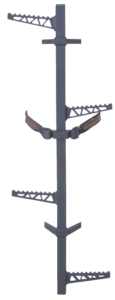 Climbing sticks made for the high achievers. Versatile design can be used on any healthy tree, even if the tree is crooked. The M250 Hang-On Aluminum Climbing Sticks are lightweight and stackable. A double loop connection straps with the easy pull cam buckle to keep things secure. To provide increased foot clearance, the alternating steps include a sure traction angled design.
